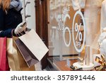 closeup of woman with shopping... | Shutterstock . vector #357891446