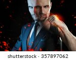 Small photo of Businessman as an athlete fighter, alter ego strong businessman