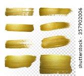 vector gold paint smear stroke... | Shutterstock .eps vector #357902006