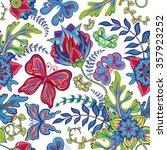 seamless hand draw butterfly... | Shutterstock . vector #357923252