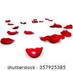 Stock photo red rose petals scattered on the floor d render 357925385
