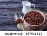 Chocolate Cereal Balls In Bowl...