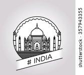 vector line india badge | Shutterstock .eps vector #357943355