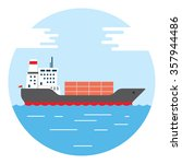 cargo container ship transports ... | Shutterstock .eps vector #357944486