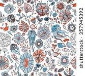underwater life with jellyfish  ... | Shutterstock .eps vector #357945392