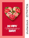 valentine card with heart of... | Shutterstock .eps vector #357947936