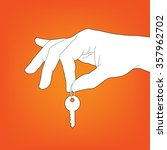 Hand With Key Silhouette Vector