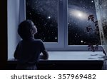 a little boy is standing near... | Shutterstock . vector #357969482