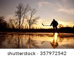 young hockey player on natural... | Shutterstock . vector #357972542