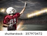 football player on a red... | Shutterstock . vector #357973472
