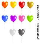Set Colored Heart Balloons....