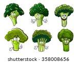 organic farm cartoon broccoli... | Shutterstock .eps vector #358008656