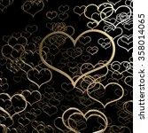 valentine heart gold e rendering | Shutterstock . vector #358014065