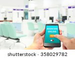 hand hold smartphone and finger ...   Shutterstock . vector #358029782