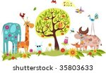 animals in the garden | Shutterstock .eps vector #35803633