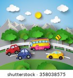car on road curve with sunshine ... | Shutterstock .eps vector #358038575