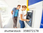 hacker in atm trying to steal... | Shutterstock . vector #358072178