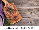 grilled beef steak with... | Shutterstock . vector #358072418