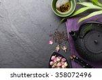 asian sushi chopsticks  rose...   Shutterstock . vector #358072496