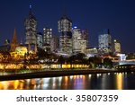 Night view on Melbourne central business district - stock photo