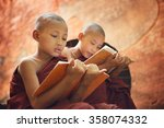 young buddhist novice monk... | Shutterstock . vector #358074332