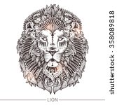 ornamental tattoo lion head.... | Shutterstock .eps vector #358089818