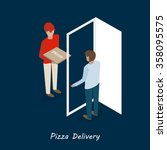 man in red pizza delivery... | Shutterstock .eps vector #358095575