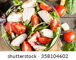 fresh salad made of tomato ... | Shutterstock . vector #358104602