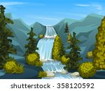 mountain river with waterfall.... | Shutterstock .eps vector #358120592