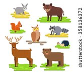 funny and cute forest animals... | Shutterstock .eps vector #358136372