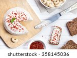 vegan raw cheese from cashew... | Shutterstock . vector #358145036
