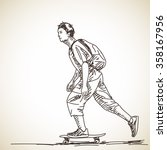 sketch of teenager on... | Shutterstock .eps vector #358167956