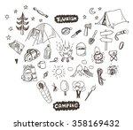 hand drawn sketch camping icons ... | Shutterstock .eps vector #358169432