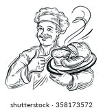 chef baker and fresh bread | Shutterstock .eps vector #358173572
