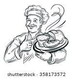 chef baker and fresh bread | Shutterstock .eps vector #358173572