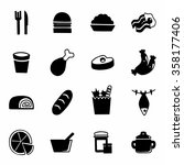 vector food icon set on white... | Shutterstock .eps vector #358177406