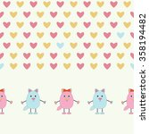 cute cats with hearts isolated... | Shutterstock .eps vector #358194482