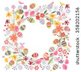 easter round frame with contour ... | Shutterstock .eps vector #358202156