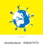 standing on the earth a group... | Shutterstock .eps vector #358207472