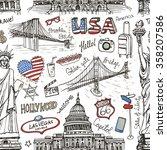 new york doodle seamless... | Shutterstock .eps vector #358207586