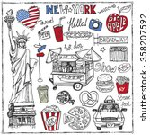 new york .doodle fast food  set.... | Shutterstock .eps vector #358207592
