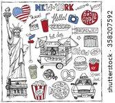 new york .doodle fast food  set.... | Shutterstock .eps vector #358207592