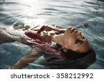 beautiful sun tanned woman with ... | Shutterstock . vector #358212992