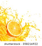 orange juice splashing with its ... | Shutterstock . vector #358216922