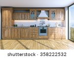 Stock photo modern bright wooden kitchen in villa on ocean island d render 358222532