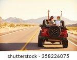 friends on road trip driving in ...   Shutterstock . vector #358226075