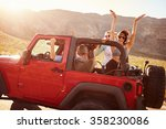 friends on road trip driving in ... | Shutterstock . vector #358230086