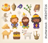 three kings and colorful... | Shutterstock .eps vector #358247216