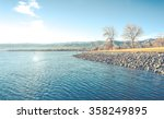 blue lake on sunny day in the... | Shutterstock . vector #358249895