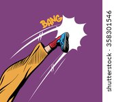 Man Kicking Comic Book Pop Art...